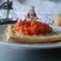 Waffles con sirope frutal