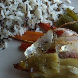 Arroz salvaje con verduras al horno